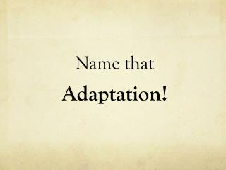 Name that Adaptation!