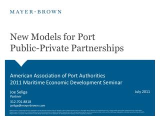 New Models for Port  Public-Private Partnerships