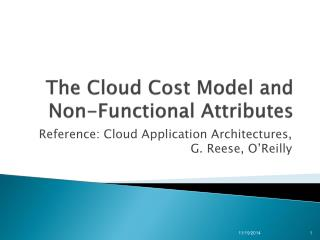 The Cloud Cost  Model and Non-Functional  A ttributes