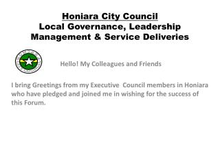 Honiara City Council Local Governance, Leadership Management & Service Deliveries