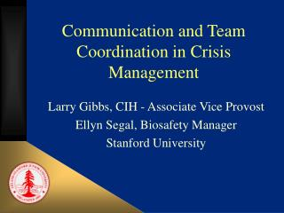 Communication and Team Coordination in Crisis Management