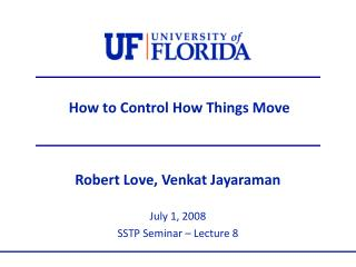 How to Control How Things Move