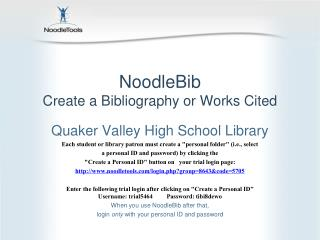 NoodleBib Create a Bibliography or Works Cited