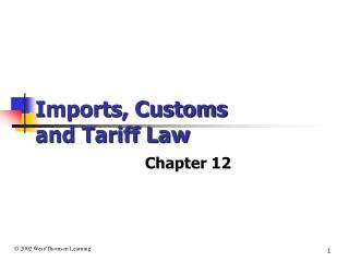 Imports, Customs  and Tariff Law