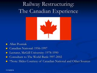 Railway Restructuring: The Canadian Experience