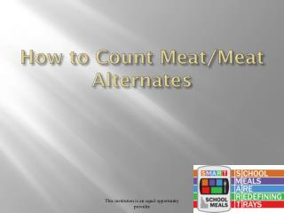 How to Count Meat/Meat Alternates
