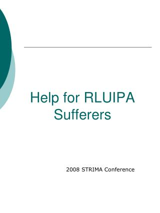 Help for RLUIPA Sufferers