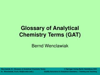 Glossary of Analytical Chemistry Terms (GAT)
