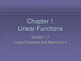 Chapter 1 Linear Functions