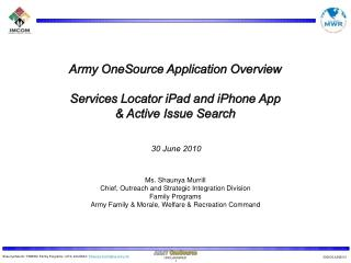 Army OneSource Application Overview Services Locator iPad and iPhone App & Active Issue Search