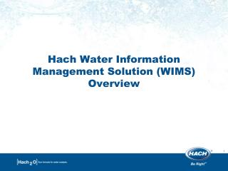 Hach Water Information Management Solution (WIMS) Overview