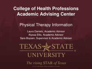 College of Health Professions Academic Advising Center