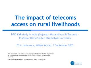 The impact of telecoms access on rural livelihoods