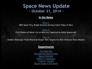Space News Update - October 21, 2014 -