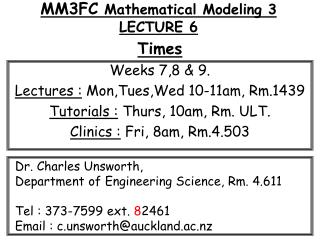 MM3FC  Mathematical Modeling 3 LECTURE 6