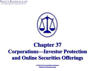 Chapter 37   Corporations Investor Protection and Online Securities Offerings