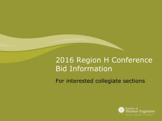 2016 Region H Conference Bid Information