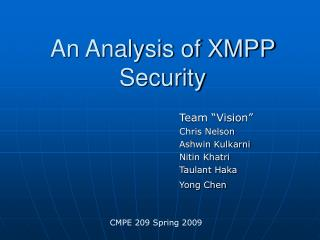 An Analysis of XMPP Security