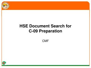 HSE Document Search for  C-09 Preparation