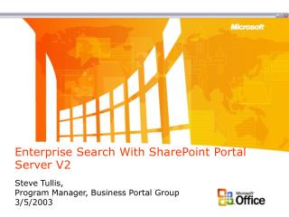 Enterprise Search With SharePoint Portal Server V2
