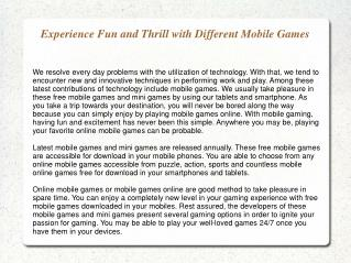 Experience Fun and Thrill with Different Mobile Games