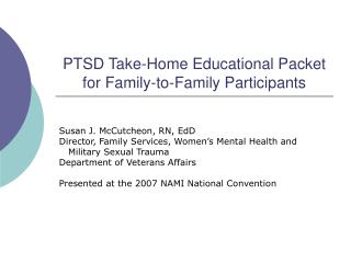 PTSD Take-Home Educational Packet for Family-to-Family Participants
