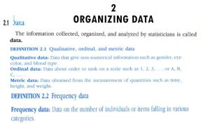 2 Organizing data