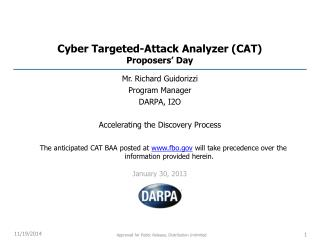 Cyber Targeted-Attack Analyzer (CAT) Proposers'  Day