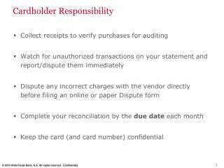 Cardholder Responsibility