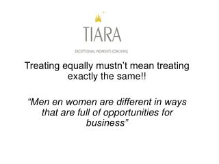 Treating equally mustn't mean treating exactly the same!!