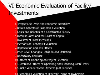VI-Economic Evaluation of Facility Investments