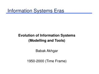 Information Systems Eras