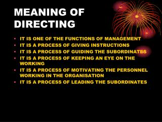 MEANING OF DIRECTING
