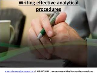 Writing effective analytical procedures