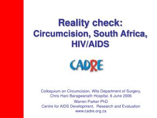 Reality check:  Circumcision, South Africa, HIV/AIDS