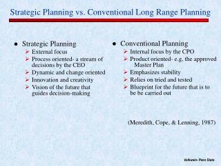 Strategic Planning vs. Conventional Long Range Planning