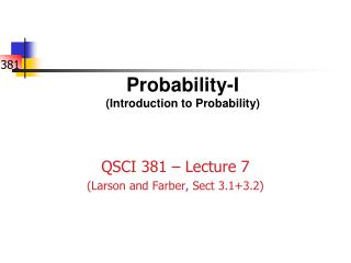 Probability-I (Introduction to Probability)