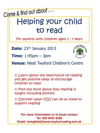 Helping your child  to read For parents with children aged 3 - 7 years
