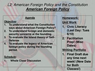 L2: American Foreign Policy and the Constitution American Foreign Policy