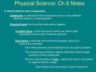 Physical Science: Ch 6 Notes