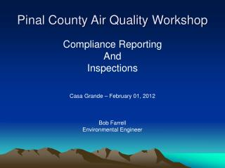 Pinal County Air Quality Workshop