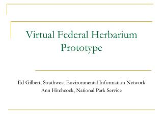 Virtual Federal Herbarium Prototype