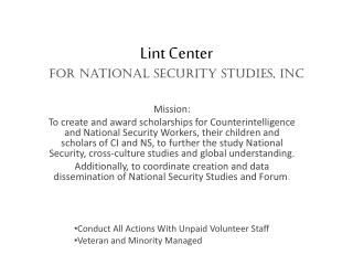 Lint Center  for National Security Studies, Inc
