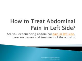 how to Treat Abdominal Pain in Left Side