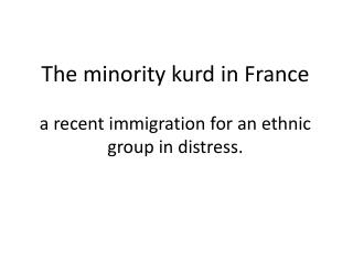 The  minority kurd  in France  a  recent  immigration for an  ethnic group in  distress .
