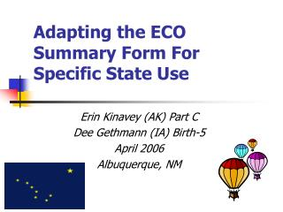 Adapting the ECO Summary Form For Specific State Use