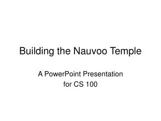 Building the Nauvoo Temple