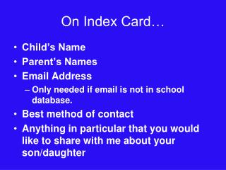 On Index Card…