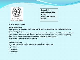 Grades 3-6 Anticipation Writing Activity Assessment Writing Activity