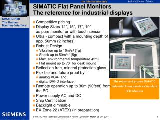SIMATIC Flat Panel Monitors The reference for industrial displays
